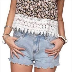 Bullhead High Rise Short Scalloped Jean Shorts 00